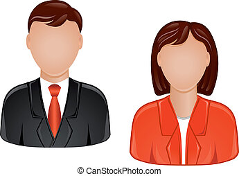 Icons of man and woman for web design