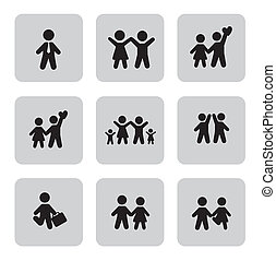 People icons in different activities over white background