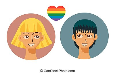People icons in modern style with gay couple symbol. Vector illustration.