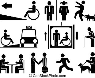 People - set of vector pictograms. Black icons on white background. Signs, isolated design elements. Simple.