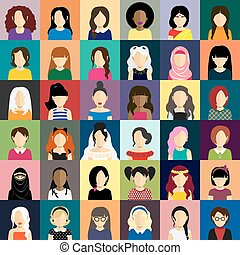 People icons set in flat style with faces of women ang girls...