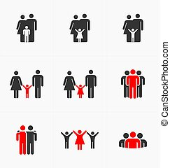 People icons set on white background, silhouette vector. Business and family
