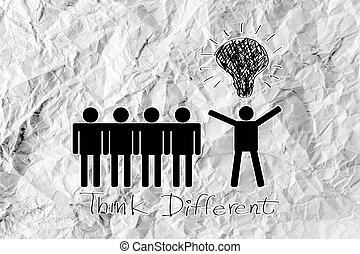 people icons think different idea design on crumpled paper