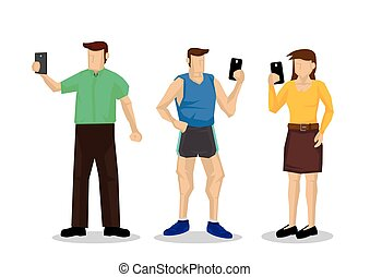 People ignore each other and holding mobile in hands. Concept of technology addiction or bad habit. Flat isolated vector illustration.