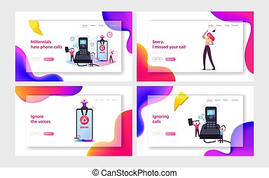 People Ignoring Incoming Call Landing Page Template Set. Tiny Male Characters Destroying Huge Calling Telephone to Avoid Conversation. Woman Cry Suffer of Boyfriend Ignore. Cartoon Vector Illustration