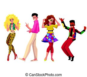 People in 1980s style clothes dancing at retro disco party...