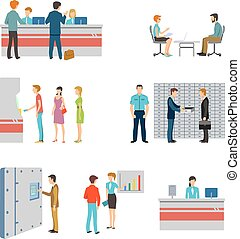 People in a bank interior flat vector icons set. Banking...