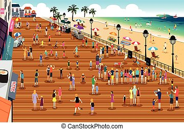 People in a Boardwalk Scene - A vector illustration of...