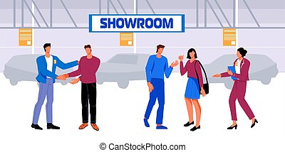 People in a car dealership choose a car and conclude a sale and purchase transaction, flat vector illustration. Buyers and car sellers in the showroom interior.