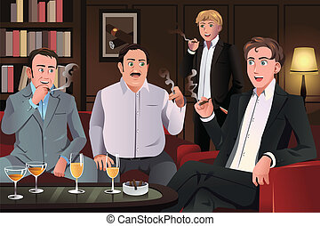 People in a cigar lounge - A vector illustration of people...