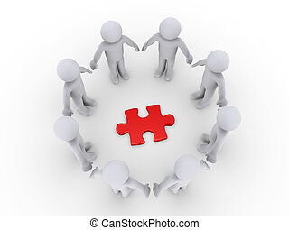 People in a circle around a puzzle piece