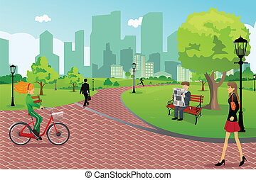 People in a city park - A vector illustration of young ...