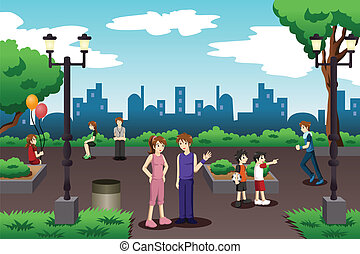 People in a city park doing everyday stuff - A vector...