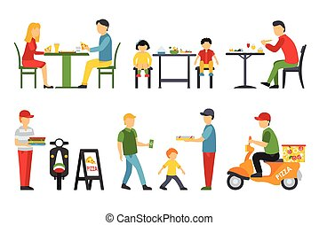 People in a flat interior. Pizza icons set. Customers, Bistro, Waiters, Delivery, Scooter. Pizzeria conceptual web vector illustration.