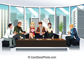 A vector illustration of people in a lounge using electronic gadgets