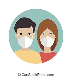 People in a mask protecting against corona virus, covid 19. ...