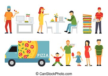 People in a Pizzeria interior flat icons set. Cashier, Customers, Bistro, Waiters, Delivery, Car. Pizza concept web vector illustration.