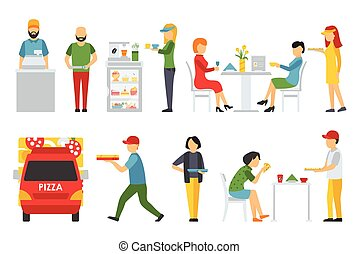 People in a Pizzeria interior flat icons set. Deliveryman, Customers, Bistro, Waiters, Delivery, Car. Pizza concept web vector illustration.