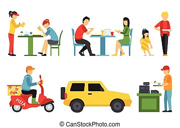 People in a Pizzeria interior flat icons set. Pizza concept web vector illustration.