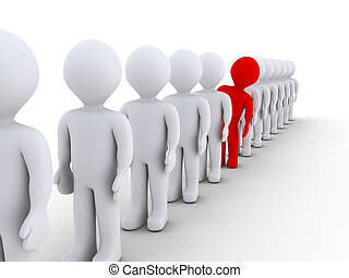 People in a row but one is different - Many 3d people in a ...