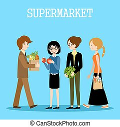 People in a supermarket with purchases