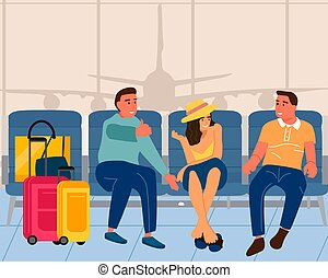 People in airport. Men and woman sitting with luggage in vestibule. Young characters talking. Tourists waiting for departure and boarding airplane. Traveling by air, vector illustration