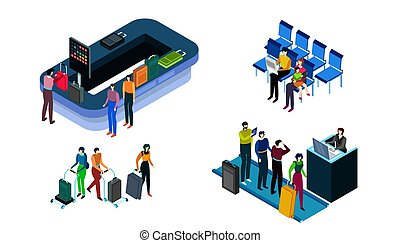 People in airport, security check, baggage and registration for flight, vector illustration
