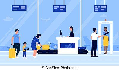 People in airport security check vector illustration, cartoon flat passengers put luggage baggage on conveyor belt machine, go through scanner