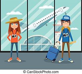 People in airport terminal. Vector flat cartoon illustration