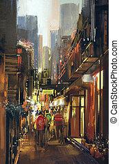 people in alleyway,illustration painting