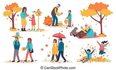 People in autumn park set of vector illustrations. Happy kids having fun and playing with autumn leaves in park, mother and daughter.