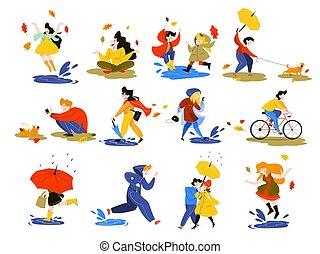 People in autumn season set. Park activity. Man on bicycle