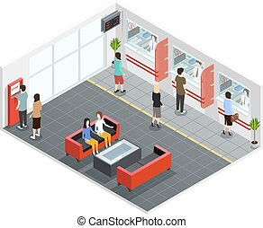 People In Bank Isometric Illustration - Male and female...