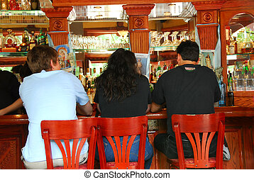 People in bar - People sitting at the bar in Boston Little...