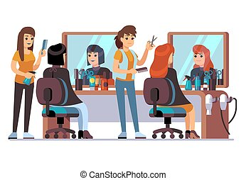 People in barber shop. Hairdresser making female fashion haircut to women clients. Inside hairdressing salon vector concept. Illustration of haircut and hairdresser, salon hair