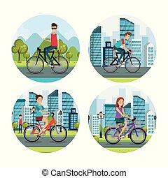 people in bicycle healthy lifestyle