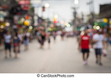 People in bokeh, Crowd of people in Bang La Road