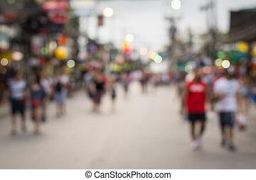 People in bokeh, Crowd of people in Bang La Road