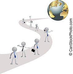 People in business, road and world