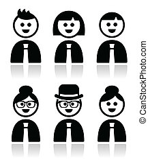 People in bussiness clothes icons