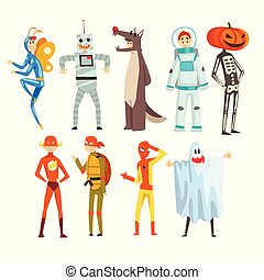 People in carnival costumes set, funny persons dressed as an butterfly, robot, wolf, astronaut, superhero, ninja turtle, ghost, skeleton vector Illustration on a white background
