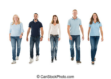 People In Casuals Walking Against White Background