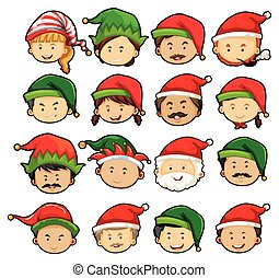 People in christmas hats