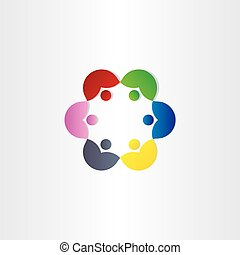 people in circle business meeting icon
