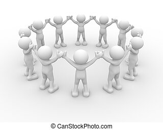 People in circle - 3d people - human character, people in...