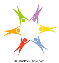 People in circle - Colorful circle of people - team concept