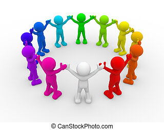People in circle - 3d people - human character, different...