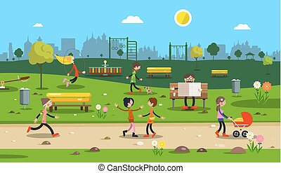 People in City Park. Vector.