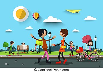 People in City Park. Vector Summer Landscape Illustration with Women and Man.
