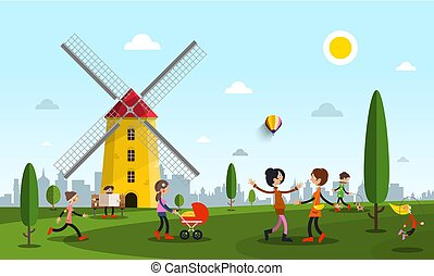 People in City Park with Windmill. Vector Flat Design Illustration.